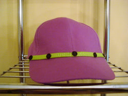Violet Baseball Hat with Neon Green Trim & Purple Buttons - FayZen's Kreations