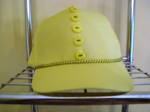 Yellow Baseball Hat with Yellow & Black Trim and Yellow Buttons - FayZen's Kreations