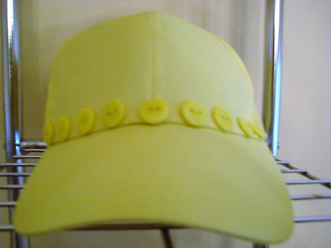 Yellow Baseball Hat Decorated with 9 Yellow Buttons - FayZen's Kreations