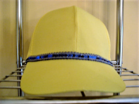 Royal Blue Metallic Sequin Trimmed Yellow Baseball Hat - FayZen's Kreations