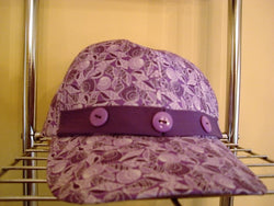 Purple Print Baseball Hat with Handmade Purple Trim & Buttons