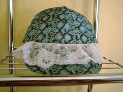 Turquoise/Black Print Baseball Hat with Vintage Scalloped White Lace - FayZen's Kreations