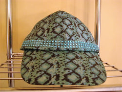 Turquoise/Black Print Baseball Hat with Turquoise Metallic Trim - FayZen's Kreations