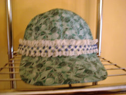 Green Print Baseball Hat with White Lace & Blue/Green Design - FayZen's Kreations