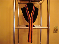 Orange Zipper Necklace Decorated with Orange/Brown Trim - FayZen's Kreations