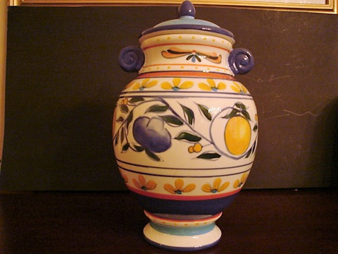 Living Art Urn-Shaped Colorfully Decorated Jar with Contrasting Top and Handles - FayZen's Kreations