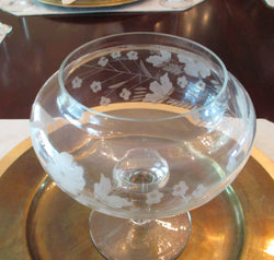 Etched Modified Oval Crystal Footed Vase - FayZen's Kreations