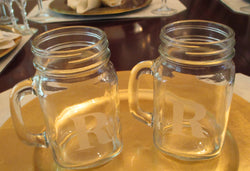 "Clear Mug 4pc. Set Etched with Letter ""R"" - FayZen's Kreations"