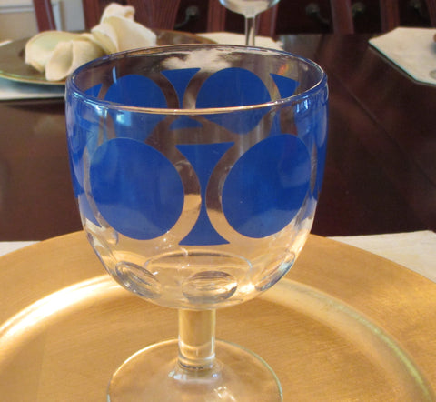 Blue Circles & Columns Compote Bowl - FayZen's Kreations