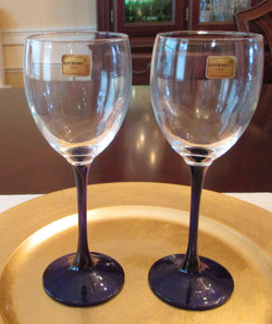 Luminarc Blue Stem Crystal Wine Glass Set - FayZen's Kreations