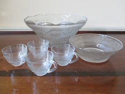 KIG Vintage Imperial Cape Cod Pressed Pattern Punch Bowl 14 pc Set - FayZen's Kreations