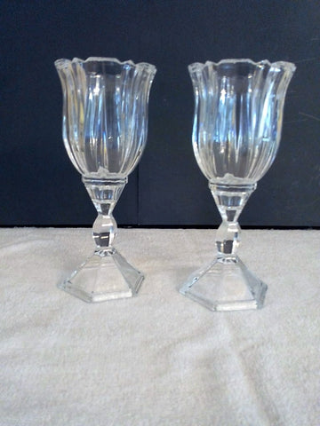 """Royal"" Cut Crystal Wine Goblet 2pc Set with Hexagon Base - FayZen's Kreations"