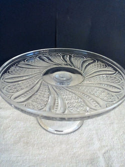 "Antique McKee EAPG ""Feather Doric"" Clear Pressed Glass Cake Stand - FayZen's Kreations"