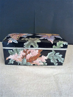 Toyo Porcelain Black Floral Trinket Box with Matching Top - FayZen's Kreations
