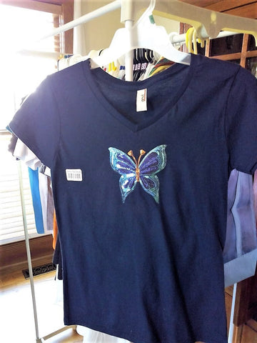 Sparkly Sequins Butterfly Appliqué Ladies Navy Blue T-Shirt - FayZen's Kreations