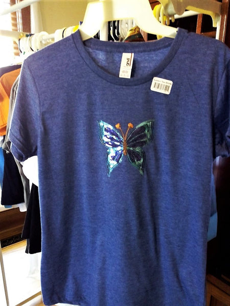 Sparkly Sequins Butterfly Appliqué Ladies Heather Blue T-Shirt - FayZen's Kreations