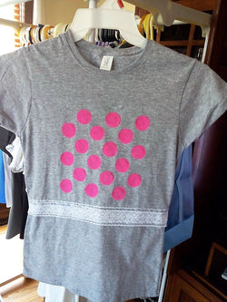 Polka Dot Ladies T-Shirt with Lace at Waist