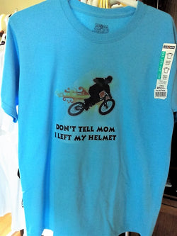 """Don't Tell Mom I Left My Helmet"" Youth Hand Crafted T-Shirt - FayZen's Kreations"