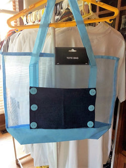 Light Blue Tote Bag with Navy Denim Pocket and 6 Buttons - FayZen's Kreations