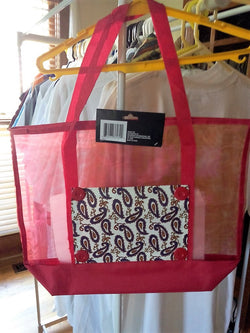 Red Tote Bag with Paisley Pocket - FayZen's Kreations