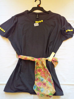 Yellow Button Hand Crafted Charcoal Gray Ladies T-Shirt with Scarf
