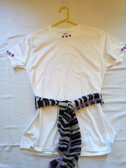 Purple Button Hand Crafted Ladies T-Shirt with White, Black & Purple Scarf