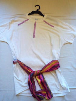 Purple Gems Hand Crafted Ladies T-Shirt with Decorative Scarf