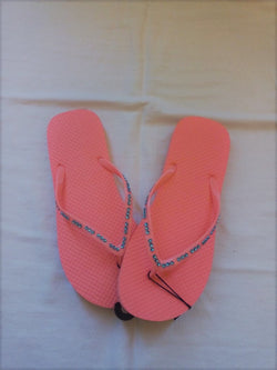 Women's Peach Flip Flop with Turquoise Jeweled Straps