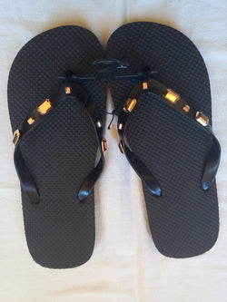 Men's Black Flip Flop with Bronze Jeweled Straps - FayZen's Kreations