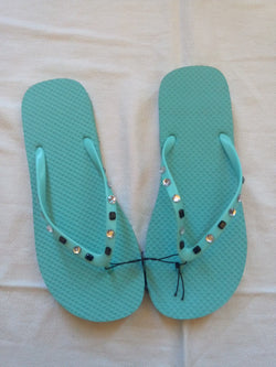 Women's Aqua Flip Flop with Crystal & Black Jeweled Straps