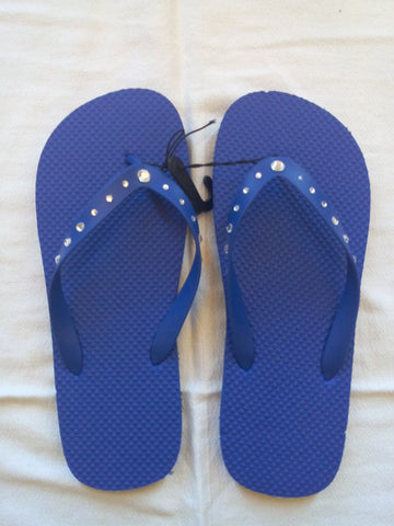 Men's Blue Flip Flop with Crystal Jeweled Straps