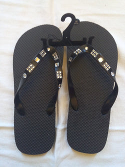 Men's Black Flip Flop with Silver Jeweled Straps