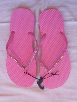 Women's Pink Flip Flop with Crystal Jeweled Straps