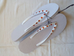 Women's White Flip Flop with Red Jeweled Straps