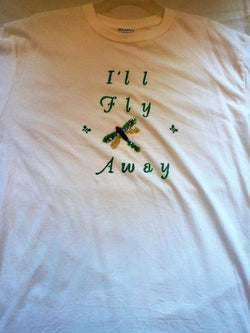 """I'll Fly Away"" Unisex T-Shirt with Sequin Dragonfly Applique"