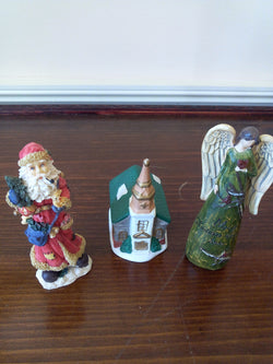 3 Pc Christmas Ceramic Figurine Set; Church, Angel & Vintage Santa