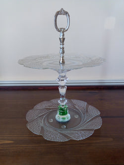 """Green Marbles"" Two-tier Tidbit Tray with Antique Silver Center Handle - FayZen's Kreations"