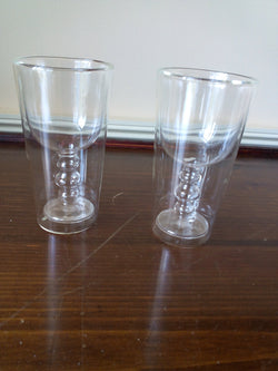 Double Wall 2 pc Glass Set; Wine Glass Within Glass - FayZen's Kreations