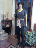 Yellow Button Hand Crafted Charcoal Gray Ladies T-Shirt with Scarf & Necklace Set - FayZen's Kreations
