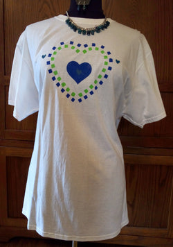 Hand-Painted Heart Within A Green & Navy Checkered Heart Unisex T-Shirt plus Necklace Set - FayZen's Kreations