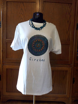 """Circles"" Unique Hand Painted Unisex T-Shirt with Necklace Set - FayZen's Kreations"