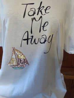 """Take Me Away"" Handcrafted Unisex T-Shirt plus Necklace Set"