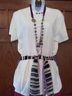 Purple Button Hand Crafted Ladies T-Shirt with White, Black & Purple Scarf plus Necklace Set - FayZen's Kreations
