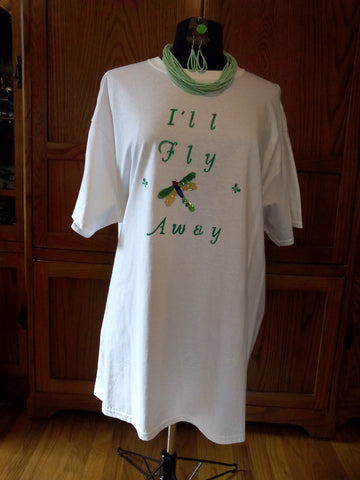 """I'll Fly Away"" Unisex T-Shirt with Sequin Dragonfly Applique plus Necklace Set - FayZen's Kreations"