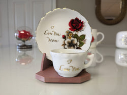 """I Love You Mom"" Porcelain Miniature Display Plate & Cup - FayZen's Kreations"
