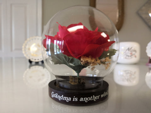 Red Rose In Glass Globe For Grandma - FayZen's Kreations