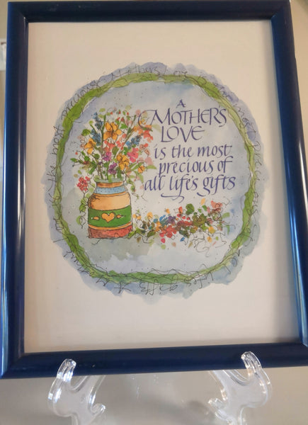 """A Mother's Love"" Picture With Navy Blue Plastic Frame - FayZen's Kreations"