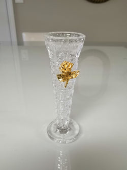 Embossed Bud Vase With Gold Rose