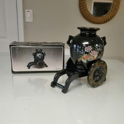 Black Asian Inspired Vase with Cart - FayZen's Kreations