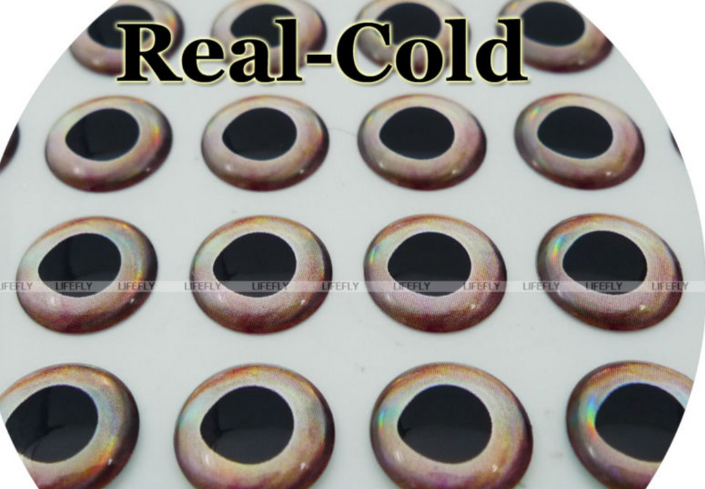 12 mm Nature Series (Real Cold) 3D Lure Eyes (50 Pack)